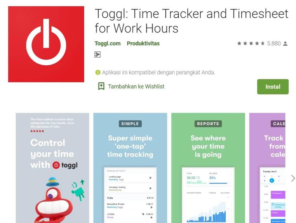 Aplikasi Toggl